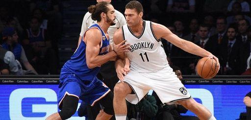 New York Knicks center Joakim Noah defends Brooklyn