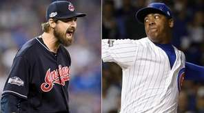 This composite image shows Cleveland Indians reliever Andrew