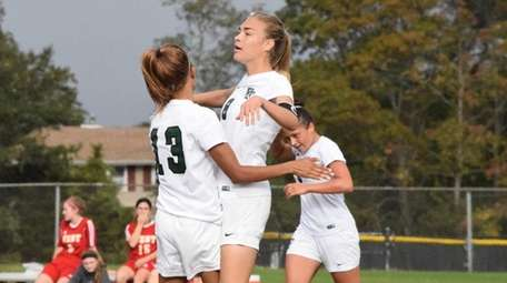 Amber Birchwell celebrates after her goal in the