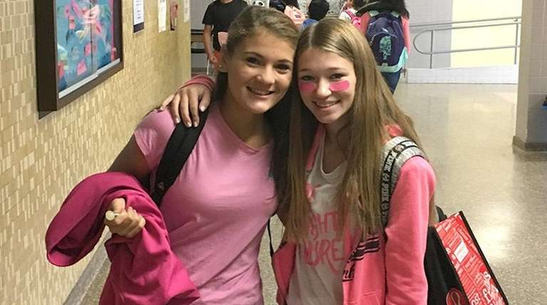 Cameron Repetti, left, and Brooke Donovan wore pink