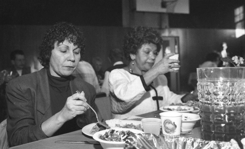 Juanita Oquendo and her friend Matilda Capoti enjoy