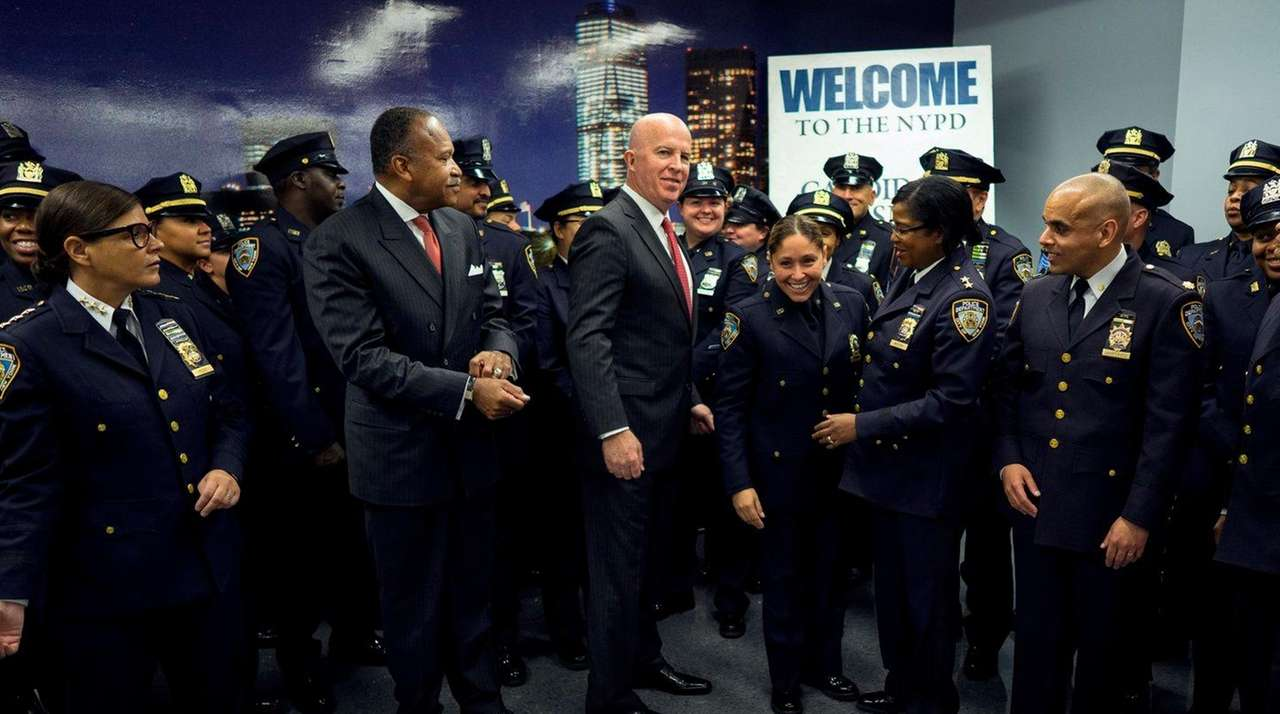 NYPD Police Commissioner James O'Neill and NYPD brass