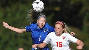 Kelsey Innes of North Babylon, left, looks to