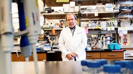 Dr. Peter Davies in his lab Monday at