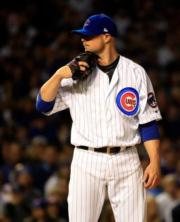 Chicago Cubs starting pitcher Jon Lester in the