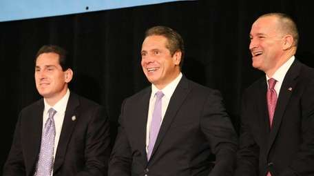 Gov. Andrew M. Cuomo appears with Senate candidate