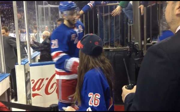 N.Y. Rangers center Derek Stepan greets Kidsday reporter