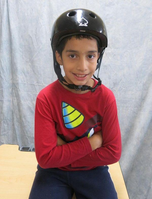 Kidsday reporter Cristian Martinez wears his Pro-Tec skate