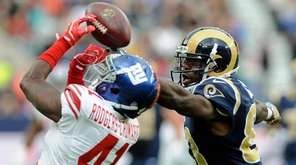 New York Giants cornerback Dominique Rodgers- Cromartie, left,