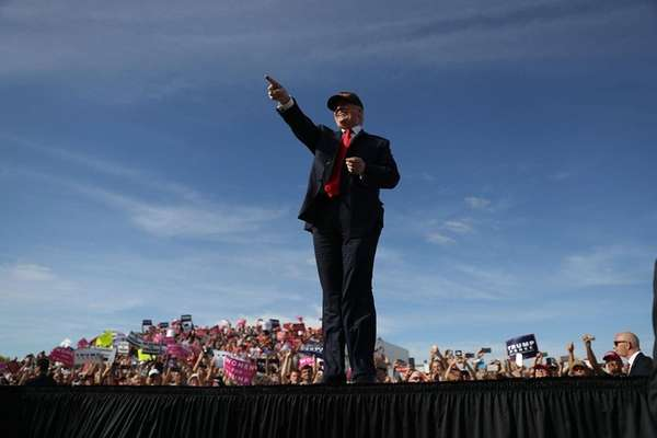 Republican presidential candidate Donald Trump attends a campaign