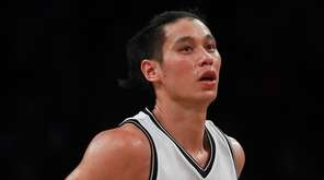 Jeremy Lin of the Brooklyn Nets reacts after