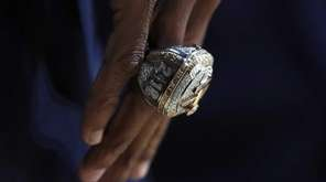 A detail view of the Cleveland Cavaliers championship