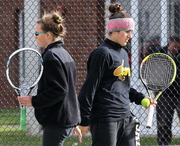 Emma Matz, left, and doubles partner Julia Kinalis