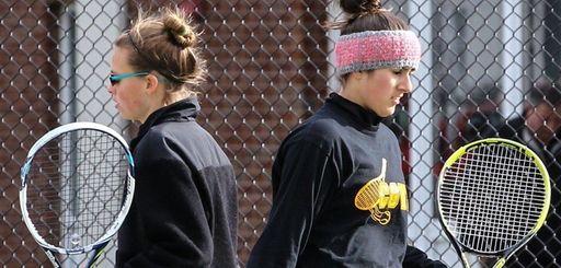 Emma Matz, left, and doubles partner Julia Kinalis