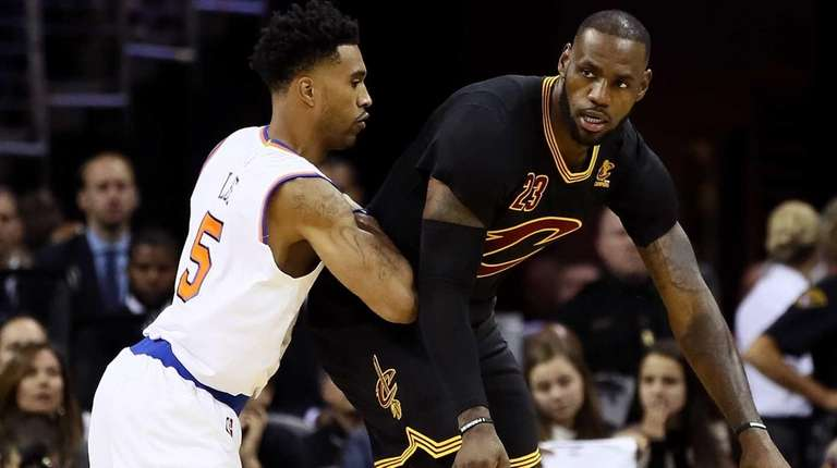 LeBron James of the Cleveland Cavaliers handles the