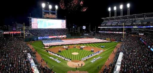 The Cleveland Indians and the Chicago Cubs stands