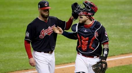 Corey Kluber and Roberto Perez of the Cleveland