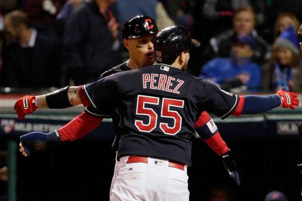 Roberto Perez of the Cleveland Indians celebrates with
