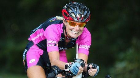 Barbara Cronin-Stagnari of Mineola trains for triathlon bike