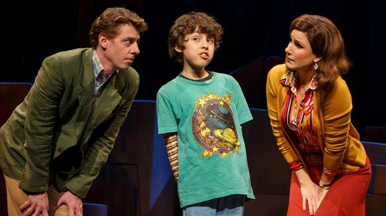 Christian Borle, left, Anthony Rosenthal and Stephanie J.