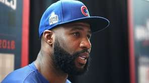 Jason Heyward of the Chicago Cubs is interviewed