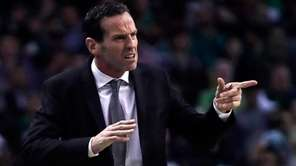 Brooklyn Nets head coach Kenny Atkinson calls to