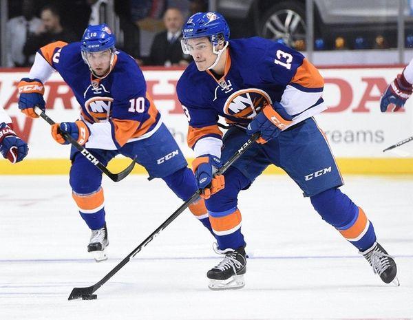 New York Islanders center Mathew Barzal skate with