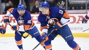 New York Islanders center Mathew Barzal skate with