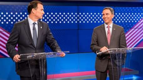 Tom Suozzi and Jack Martins are seen before