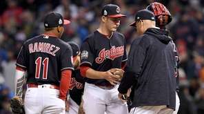 Trevor Bauer is relieved by Indians' manager Terry