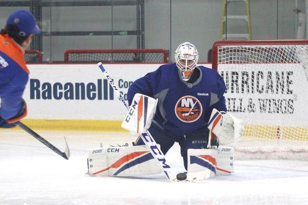 Jean-Francois Berube of the New York Islanders makes