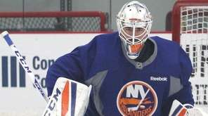 Jean-Francois Berube of the New York Islanders makes