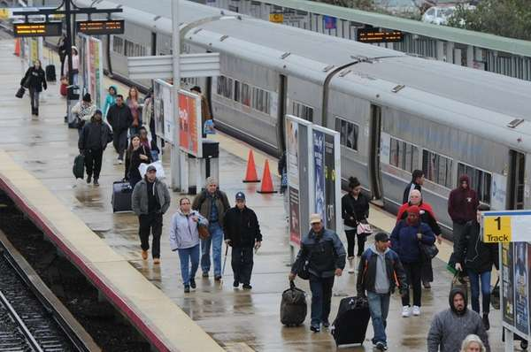 Commuters at the Ronkonkoma train station braved cool