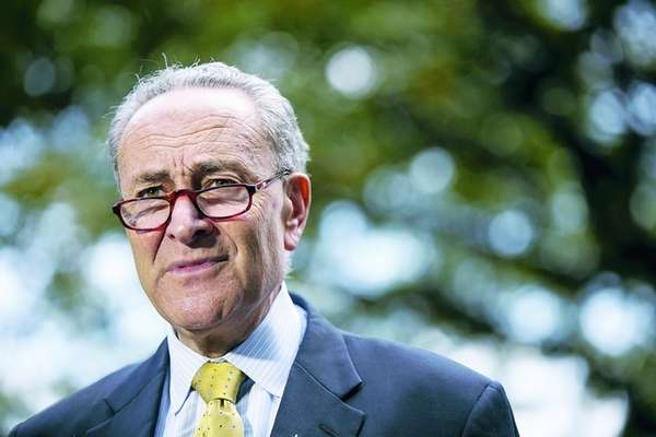 US Senator Chuck Schumer hold a press conference