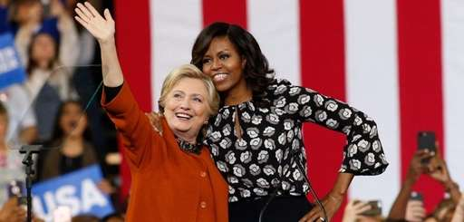 Hillary Clinton and Michelle Obama appear together for