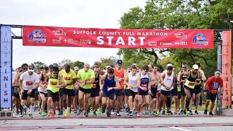 The start of the Suffolk County Marathon at