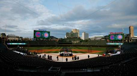A view of Wrigley Field the day before