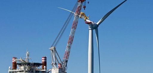 The Block Island Wind Farm is seen on