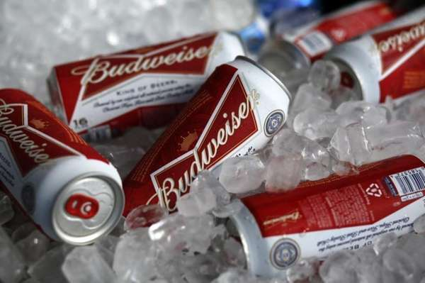 Budweiser beer cans are seen at a concession
