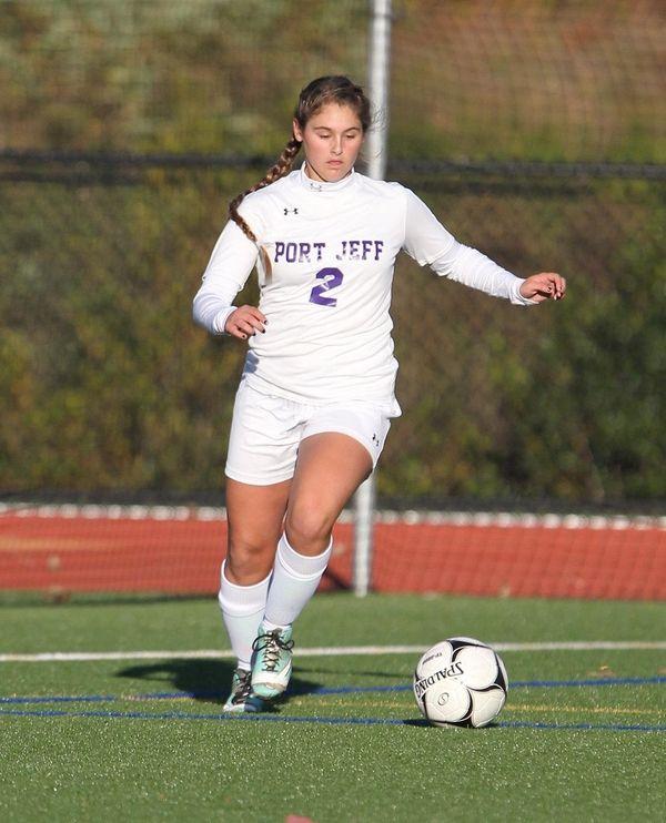 Port Jefferson's Brittany Fazin in the first half