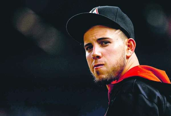 Jose Fernandez of the Miami Marlins looks on