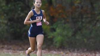 Samantha Law of Great Neck North races to