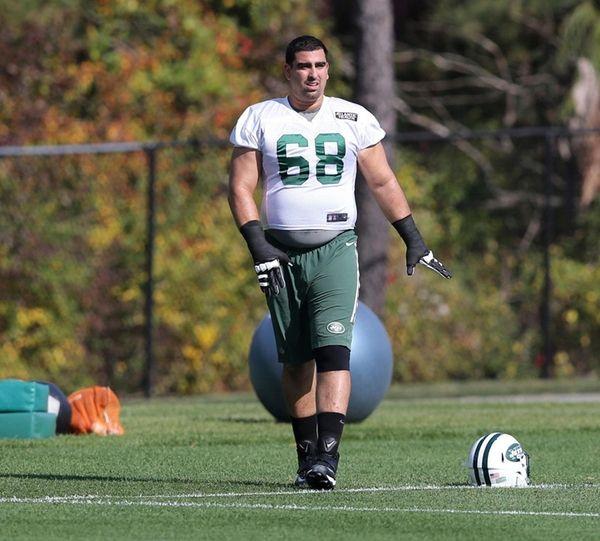 New York Jets' Breno Giacomini participates in football