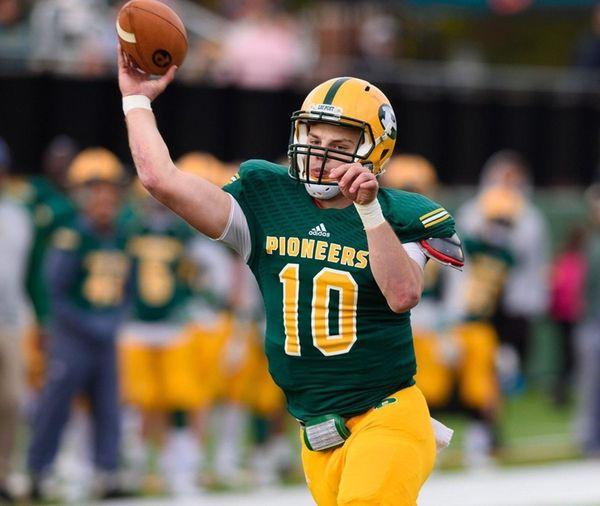 LIU Post quarterback MichaelCampbell throws the ball during