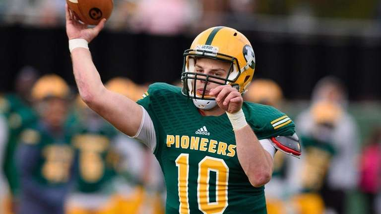LIU Post quarterback Michael Campbell throws the ball during