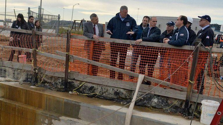 New York City Mayor Bill de Blasio seen