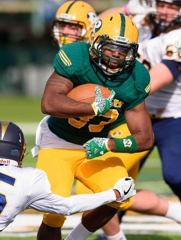 LIU Post running back Malik Pierre their game against