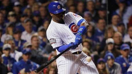 Jorge Soler of the Chicago Cubs hits a