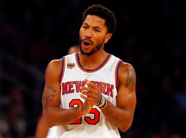 Derrick Rose of the New York Knicks reacts