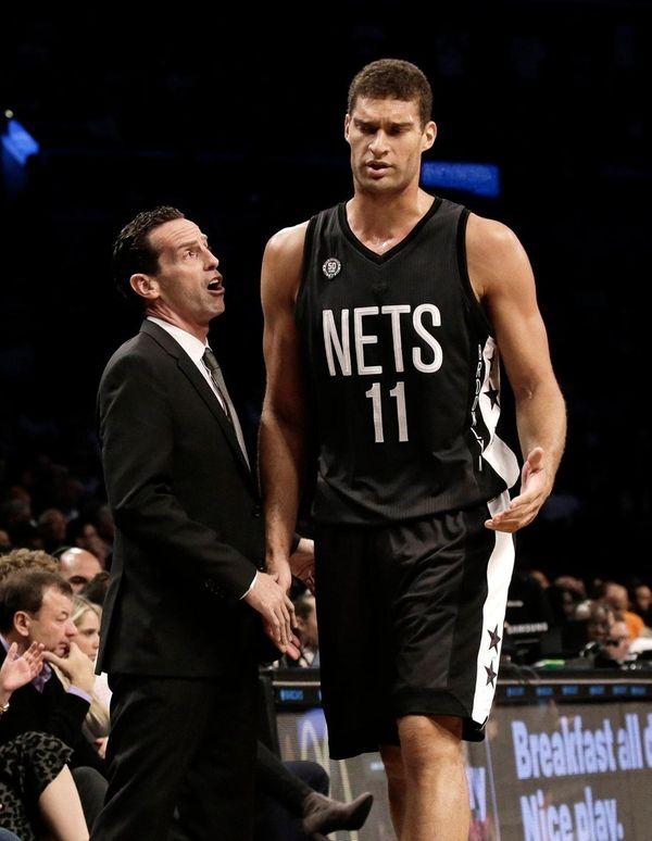 Brooklyn Nets' head coach Kenny Atkinson speaks to